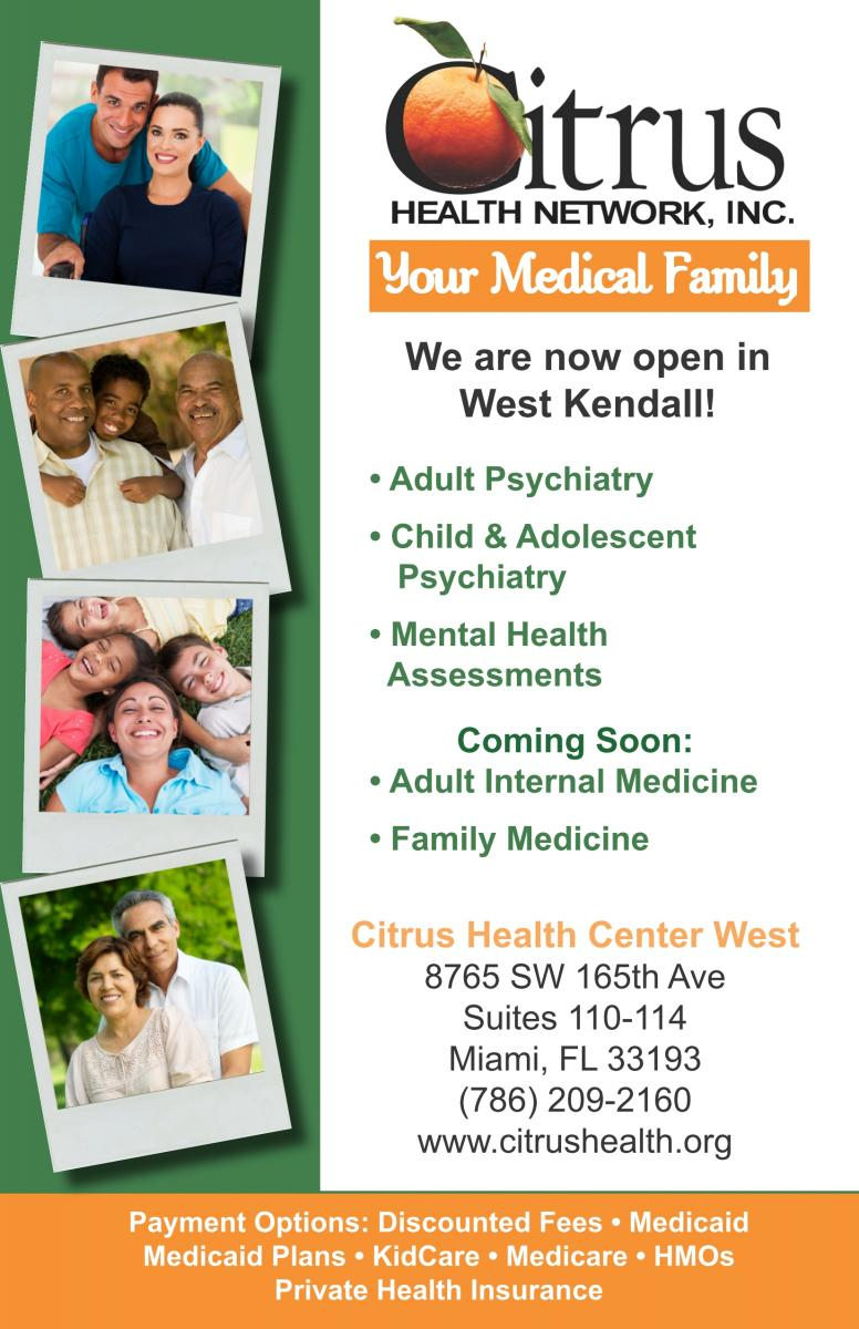 Informational Flyer for Citrus Health Center West- Call 786-209-2160 for more information