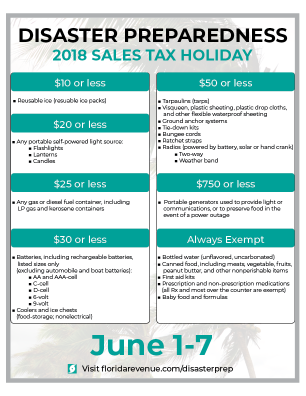 2018 Florida Disaster Preparedness Sales Tax Holiday